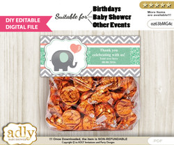 DIY Text Editable Unisex Elephant Goodie  Treat Bag Toppers, Favor Bag Digital File, print at home