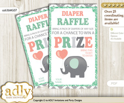 Unisex Elephant Diaper Raffle Printable Tickets for Baby Shower, Peach Mint, Chevron