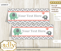 DIY Text Editable Printable Unisex Elephant Buffet Tags or Food Tent Labels  for a Baby Shower or Birthday , Peach Mint, Chevron