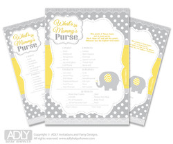 Neutral Elephant What is in Mommy's Purse, Baby Shower Purse Game Printable Card ,  Yellow Grey,  Chevron