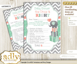 Printable Unisex Elephant Price is Right Game Card for Baby Elephant Shower, Peach Mint, Chevron