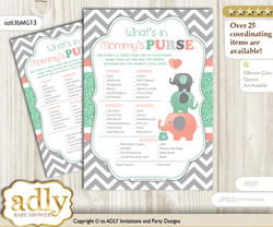 Unisex Elephant What is in Mommy's Purse, Baby Shower Purse Game Printable Card , Peach Mint,  Chevron