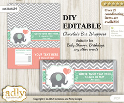 DIY Personalizable Unisex Elephant Chocolate Bar Candy Wrapper Label for Unisex  baby shower, birthday Peach Mint , editable wrappers