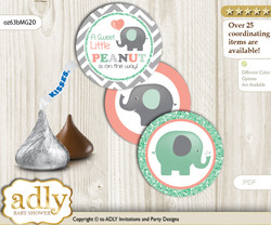 Printable  Unisex Elephant Candy Kisses for Baby Unisex Shower DIY Peach Mint , Chevron