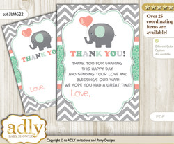 Unisex  Elephant Thank you Cards for a Baby Unisex Shower or Birthday DIY Peach Mint, Chevron