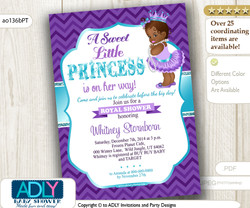 Purple Teal African American Princess Baby Shower