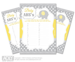 Neutral Elephant Baby ABC's Game, guess Animals Printable Card for Baby  Elephant Shower DIY – Chevron