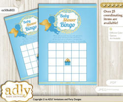 Printable Gold Blue Angel Bingo Game Printable Card for Baby Boy Shower DIY grey, Gold Blue, Heaven