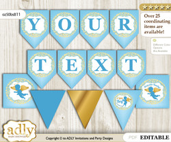 DIY Personalizable Boy Angel Printable Banner for Baby Shower, Gold Blue, Heaven
