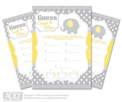 Neutral Elephant Dirty Diaper Game or Guess Sweet Mess Game for a Baby Shower  Yellow Grey,  Chevron