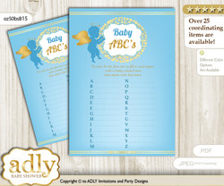 Boy Angel Baby ABC's Game, guess Animals Printable Card for Baby Angel Shower DIY – Heaven