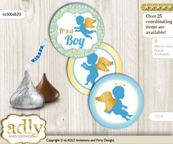 Printable  Boy Angel Candy Kisses for Baby Boy Shower DIY Gold Blue , Heaven