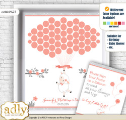 Girl Lamb Guest Book Alternative for a Baby Shower, Creative Nursery Wall Art Gift, Peach Grey, Coral
