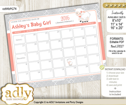 DIY Girl Lamb Baby Due Date Calendar, guess baby arrival date game