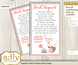 Request a Book Instead of a Card for Girl Lamb Baby Shower or Birthday, Printable Book DIY Tickets, Coral, Peach Grey