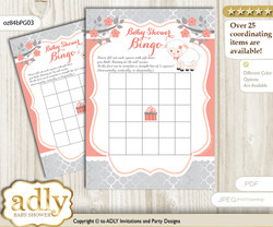 Printable Peach Grey Lamb Bingo Game Printable Card for Baby Girl Shower DIY grey, Peach Grey, Coral