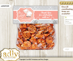 Printable Girl Lamb Treat or Goodie bag Toppers for Baby Girl Shower or Birthday DIY Peach Grey, Coral