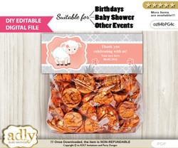 DIY Text Editable Girl Lamb Goodie  Treat Bag Toppers, Favor Bag Digital File, print at home