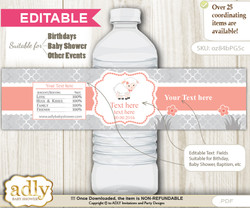DIY Text Editable Girl Lamb Water Bottle Label, Personalizable Wrapper Digital File, print at home for any event