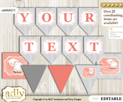 DIY Personalizable Girl Lamb Printable Banner for Baby Shower, Peach Grey, Coral
