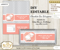 DIY Personalizable Girl Lamb Chocolate Bar Candy Wrapper Label for Girl  baby shower, birthday Peach Grey , editable wrappers