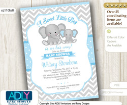 Baby Blue and Grey Elephant baby shower invitation, a sweet little boy is on his way, digital invitation - oz110bsB