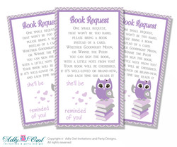 Request a Book Instead of a Card for Purple Owl Baby Shower or Birthday, Printable Book DIY Tickets, Chevron,Grey