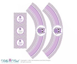 Printable Purple Owl Cupcake, Muffins Wrappers plus Thank You tags for Baby Shower Grey, Chevron