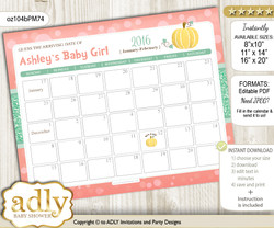 DIY Gold Pumpkin Baby Due Date Calendar, guess baby arrival date game