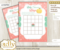 Printable Mint Pumpkin Bingo Game Printable Card for Baby Gold Shower DIY grey, Mint, Coral