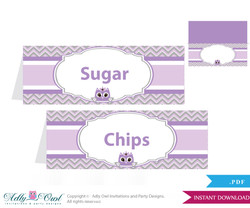 Printable Purple Owl Buffet Tags or Food Tent Labels  for a Baby Shower or Birthday , Grey, Chevron