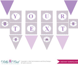 Personalized Purple Owl Printable Banner for Baby Shower,Grey, Chevron