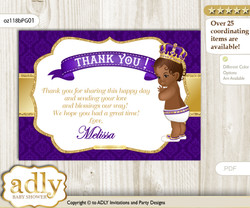 Royal Prince Thank you Printable Card with Name Personalization for Baby Shower or Birthday Party  n
