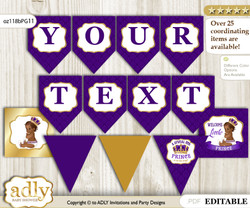 DIY Personalizable Royal Prince Printable Banner for Baby Shower, Purple Gold, African