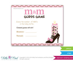 Gucci Girl Vintage M&M Game, Guess How Many Game Candies in the bottle  Baby shower  Vintage  Shower DIY Pink Brown Gucci