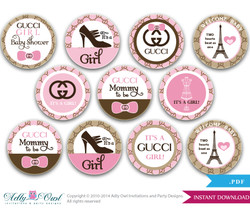 Gucci Girl Cupcake Toppers for Baby Shower,  Brown Pink for a girl  Gucci baby shower. High Fashion, Paris toppers-oz11