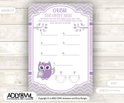 Purple Owl Dirty Diaper Game or Guess Sweet Mess Game for a Baby Shower Grey, Chevron