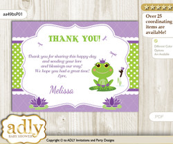 Girl Frog Thank you Printable Card with Name Personalization for Baby Shower or Birthday Party