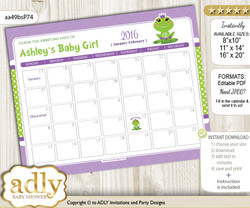 DIY Girl Frog Baby Due Date Calendar, guess baby arrival date game