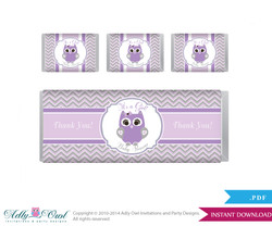 Purple Owl Chocolate Bar Wrapper and Nuggets Candy Wrapper Label for Baby Purple Shower Grey , Chevron