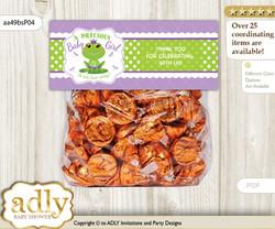 Printable Girl Frog Treat or Goodie bag Toppers for Baby Girl Shower or Birthday DIY Green Purple, Polka