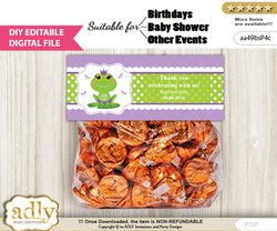 DIY Text Editable Girl Frog Goodie  Treat Bag Toppers, Favor Bag Digital File, print at home