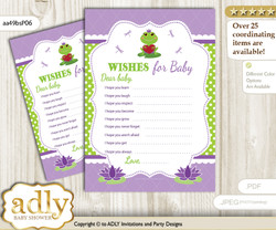 Girl Frog Wishes for a Baby, Well Wishes for a Little Frog Printable Card, Polka, Green Purple