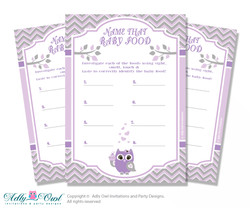 Purple Owl Guess Baby Food Game or Name That Baby Food Game for a Baby Shower, Grey Chevron