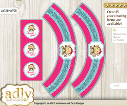 Printable Girl Monkey Cupcake, Muffins Wrappers plus Thank You tags for Baby Shower Hot Pink, Glitter