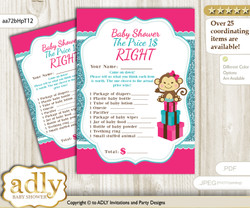 Printable Girl Monkey Price is Right Game Card for Baby Monkey Shower, Hot Pink, Glitter