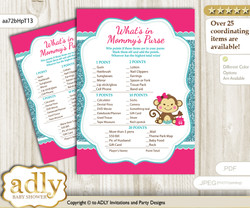Girl Monkey What is in Mommy's Purse, Baby Shower Purse Game Printable Card , Hot Pink,  Glitter