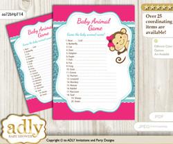 Printable Girl Monkey Baby Animal Game, Guess Names of Baby Animals Printable for Baby Monkey Shower, Hot Pink, Glitter