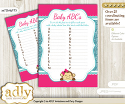 Girl Monkey Baby ABC's Game, guess Animals Printable Card for Baby Monkey Shower DIY – Glitter
