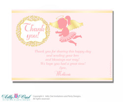 Little Angel Thank you Printable Card with Name Personalization for Baby Shower or Birthday Party